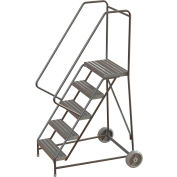 "5 Step Aluminum Wheel-Barrow Style Rolling Ladder 24""W X 14""D Plat. Ribbed Tread - WLARTR105244"