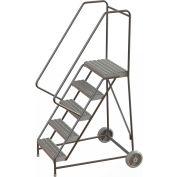 "5 Step Aluminum Wheel-Barrow Style Rolling Ladder 24""W X 14""D Plat. Grip Strut Tread - WLARTR105245"