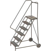 "6 Step Aluminum Wheel-Barrow Style Rolling Ladder 24""W X 14""D Plat. Ribbed Tread - WLARTR106244"