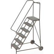 "6 Step Aluminum Wheel-Barrow Style Rolling Ladder 24""W X 14""D Plat. Grip Strut Tread - WLARTR106245"