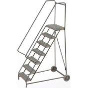 "7 Step Aluminum Wheel-Barrow Style Rolling Ladder 24""W X 14""D Plat. Grip Strut Tread - WLARTR107245"