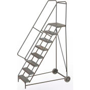 "8 Step Aluminum Wheel-Barrow Style Rolling Ladder 24""W X 14""D Plat. Ribbed Tread - WLARTR108244"