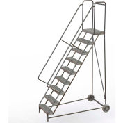 "9 Step Aluminum Wheel-Barrow Style Rolling Ladder 24""W X 14""D Plat. Grip Strut Tread - WLARTR109245"