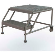 "2 Step Mobile Work Platform 24""W x 24""L, No Handrails, Gray - WLWP022424"