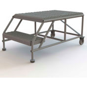 "2 Step Mobile Work Platform 24""W x 36""L, No Handrails, Gray - WLWP022436"