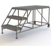 "Mobile 3 Step Steel 24""W X 48""L Work Platform Ladder Without Handrails"