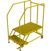 "2 Step Mobile Work Platform 24""W x 36""L, 36"" Handrails, Safety Yellow - WLWP122436SL-Y"