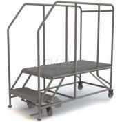 """Mobile 2 Step Steel 24""""W X 48""""L Work Platform Ladder - 800 Lb. Capacity"""