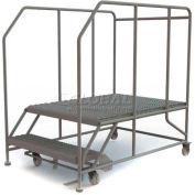 """Mobile 2 Step Steel 36""""W X 48""""L Work Platform Ladder - 800 Lb. Capacity"""