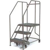 """Mobile 3 Step Steel 24""""W X 24""""L Work Platform Ladder - 800 Lb. Capacity"""