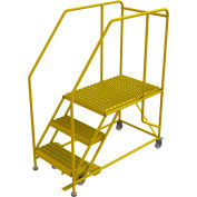 "3 Step Mobile Work Platform 24""W x 36""L, 36"" Handrails, Safety Yellow - WLWP132436SL-Y"