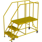 "3 Step Mobile Work Platform 24""W x 48""L, 36"" Handrails, Safety Yellow - WLWP132448SL-Y"