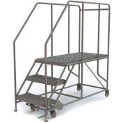 """Mobile 3 Step Steel 24""""W X 48""""L Work Platform Ladder - 800 Lb. Capacity - WLWP132448SL"""