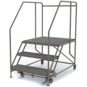 """Mobile 3 Step Steel 36""""W X 36""""L Work Platform Ladder - 800 Lb. Capacity"""