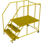 "3 Step Mobile Work Platform 36""W x 48""L, 36"" Handrails, Safety Yellow - WLWP133648SL-Y"
