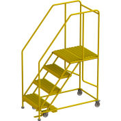 "4 Step Mobile Work Platform 24""W x 24""L, 36"" Handrails, Safety Yellow - WLWP142424SL-Y"