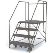 """Mobile 4 Step Steel 36""""W X 36""""L Work Platform Ladder - 800 Lb. Capacity - WLWP143636SL"""