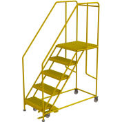 "5 Step Steel Double Entry Mobile Platform, 24""L x 24""W, 42"" Handrails - WLWP152424SLC-Y"