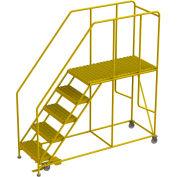 "5 Step Steel Double Entry Mobile Platform, 24""L x 48""W, 42"" Handrails - WLWP152448SLC-Y"