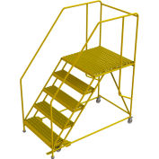 "5 Step Steel Double Entry Mobile Platform, 36""L x 36""W, 42"" Handrails - WLWP153636SLC-Y"