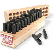 """3/32"""" Young Bros General Purpose 36 Pc. Letter & Figure Steel Stamp Set"""