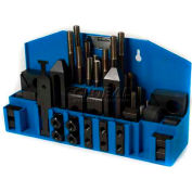 "Import 52 Pc Step Block & Clamp Set W/Fitted Rack 3/8""-16 for 1/2"" Slot"