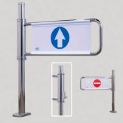 Electronically Locking Swing Gate w/ Left Handed Exit - Mirror Chrome