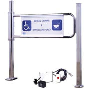 Magnetically Locking Swing Gate w/ Right Handed Handicap - Mirror Chrome