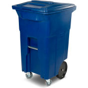 Toter Heavy Duty Two-Wheel Trash Cart w/Casters, 64 Gallon Recycling Blue - ACC64-RB