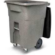 Toter Heavy Duty Two-Wheel Trash Cart w/Casters, 96 Gallon Graystone - ACC96-01GST