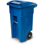 Toter Heavy Duty Two-Wheel Trash Cart, 32 Gallon Blue - ANA32-57311