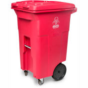 Toter 2-Wheel Medical Waste Cart w/Casters, 64 Gallon Red - RMC64-00RED