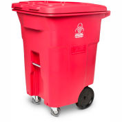 Toter 2-Wheel Medical Waste Cart w/Casters, 96 Gallon Red - RMC96