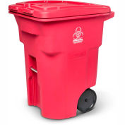 Toter 2-Wheel Medical Waste Cart, 96 Gallon Red - RMN96