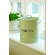 """2-N-1 Compost Bucket, Small, 7-1/2""""Dia. 9-3/4""""H, Apple Green"""