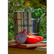 """2-N-1 Compost Bucket, Small, 7-1/2""""Dia. 9-3/4""""H, Stainless Steel"""