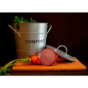 """2-N-1 Compost Bucket, Small, 7-1/2""""Dia. 9-3/4""""H, Silver Painted"""