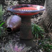 Scroll Vine Marbelized Bird Bath FM-0082, Red