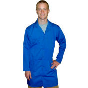 Transforming Technologies ESD Full Length Lab Coat, Snap Cuff, Light Blue, Medium
