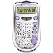 "Texas Instruments 8-Digit Pocket Calculator, TI1706SV, Dual Power, 3-1/5"" X 5-7/10"" X 7/10"", Grey"
