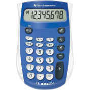 "Texas Instruments 8-Digit Handheld Calculator, TI503SV, 3-1/10"" X 4-4/5"" X 7/10"", Blue/Grey"