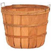 5 Peck Wood Basket with Metal Handles & Two Bands 12 Pc - Mahogany Stain - Pkg Qty 12