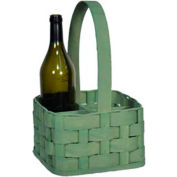 "4 Bottle 8"" x 8"" Wine Carrier Wood Basket with Wood Handle 4 Pc - Natural - Pkg Qty 4"