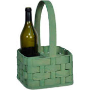 "4 Bottle 8"" x 8"" Wine Carrier Wood Basket with Wood Handle 4 Pc - Hunter Green - Pkg Qty 4"