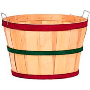 1 Bushel Wood Basket with Two Metal Handles, Red/Green/Red Bands 12 Pc - Natural - Pkg Qty 12