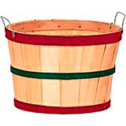 1/2 Bushel Wood Basket with Two Metal Handles, Red/Green/Red Bands 12 Pc - Natural - Pkg Qty 12