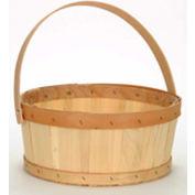 1/2 Bushel Flat Bottom Wood Basket with Wood Handle 12 Pc - Natural - Pkg Qty 12