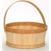1/2 Bushel Flat Bottom Wood Basket with Wood Handle 12 Pc - Yellow - Pkg Qty 12