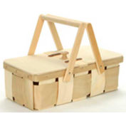"""8 Quart Rectangle 16.63"""" x 9"""" Picnic Wood Basket with Two Wood Handles & Lid 4 Pc - White Stain - Pkg Qty 4"""