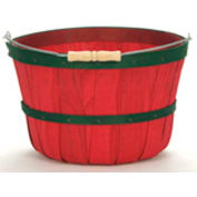 1 Peck Wood Basket with Metal Handle/Wood Grip, Red with 2 Green Bands 12 Pc - Pkg Qty 12
